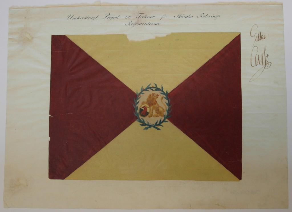 """Fanritning från 1810 för de """"Skånska Roteringsregementerna""""."""