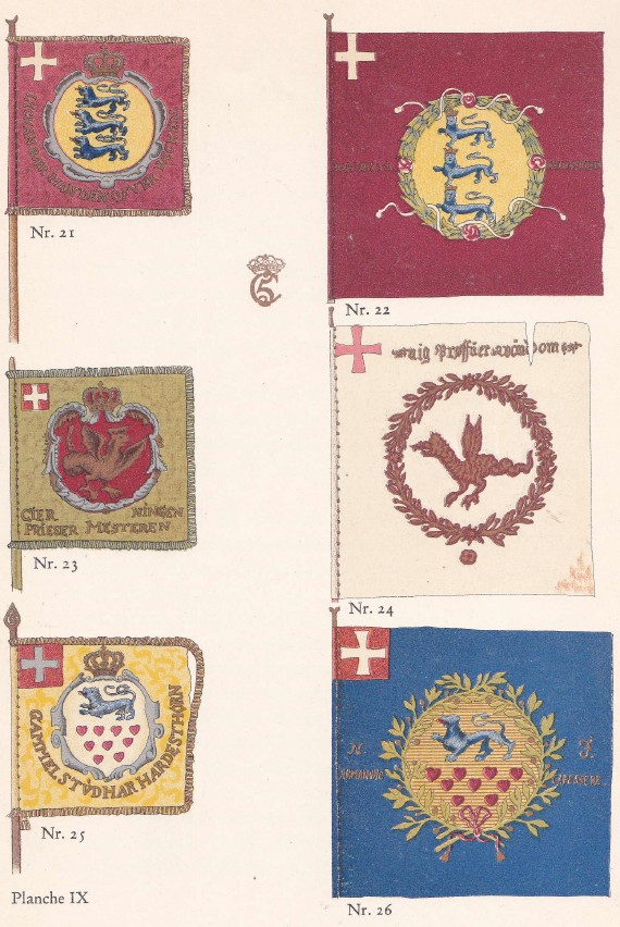 21 = Själlands ryttare, 22 = Själlands infanteriregemente, 23 = Fyns ryttare, 24 = Fyns infanteriregemente (livfana), 25 = Nordjyllands ryttare, 26 = Nordjyllands infanteriregemente