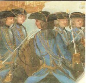 Drabanterna 1701. De hade inga harnesk när de drog ut i fält 1700 men fick sådana året efter.