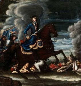 Karl XII med harnesk under rocken framför ryttare med harnesk utanför rocken.