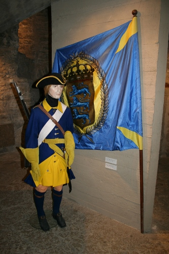 Grenadjär och kompanifana vid Harriens regemente 1707