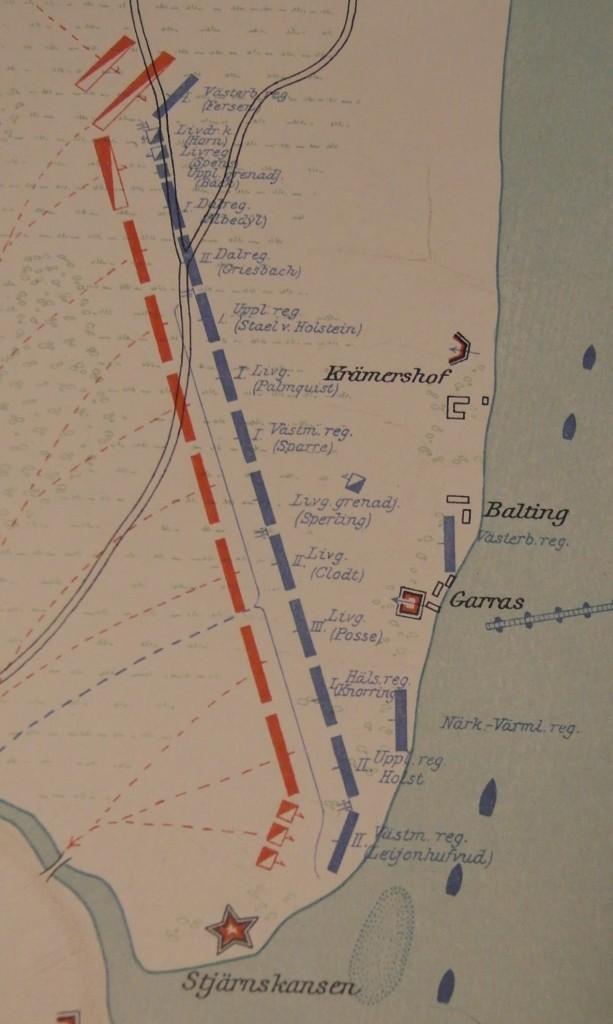 """Svenska slaglinjen under de senare skedena i slaget vid Düna. Kartan tagen från generalstabsverket (""""Karl XII på slagfältet"""")"""