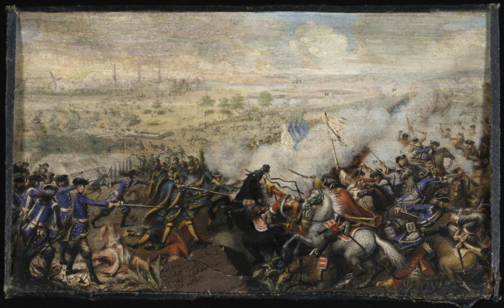 Målning av Johan Henrik Schildt föreställande övergången av Düna (Arvid Horns triumftavla).