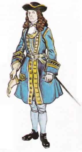 Göte Göranssons tolkning av Dalregementets kaptensuniform år 1688. Det är dock långt ifrån 120 knappar på den bilden.